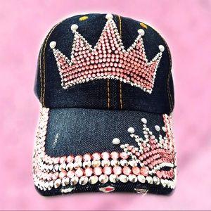 CROWN BASEBALL CAP Pink Rhinestone & Pearls